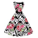 TEBAISE Sommer Klassischen Stil Frauen Vintage Printing Bodycon Feast Schlank Sleeveless Halter Abendgesellschaft Prom Swing Kleid Layered Rock(Wassermelonenrot,EU-36/CN-M)