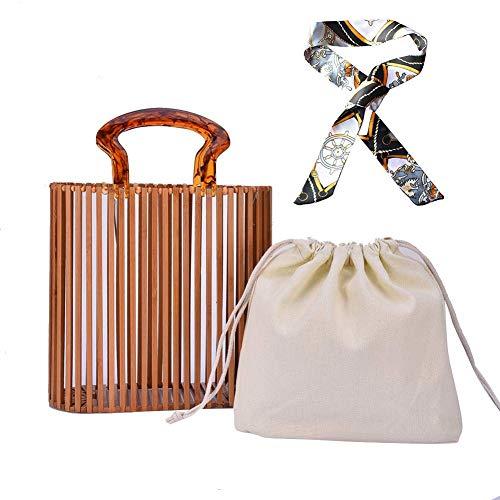 Cool Design Damen Bambus Handtasche Luxus Bambus Handtasche handgemachte Toter Bambus Purse-Stroh-Strand-Tasche Handtasche für Frauen Top Griff Taschen für Sommer Strand,Handgefertigt Korbtasche