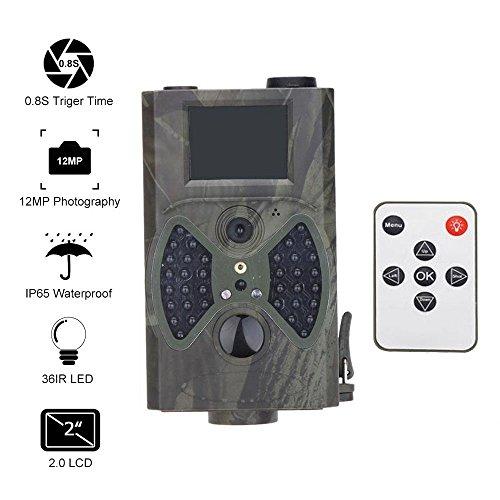 Cámara digital de caza de 12 MP, alta definición, exterior, pantalla LCD de 2 pulgadas con visión infrarroja nocturna, supervelocidad y mando a distancia (verde camuflaje)