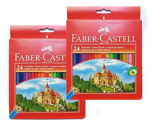 Faber-Castell 111224 - Farbstifte CASTLE Hexagonal, 2x 24er Kartonetui (48, Buntstifte)