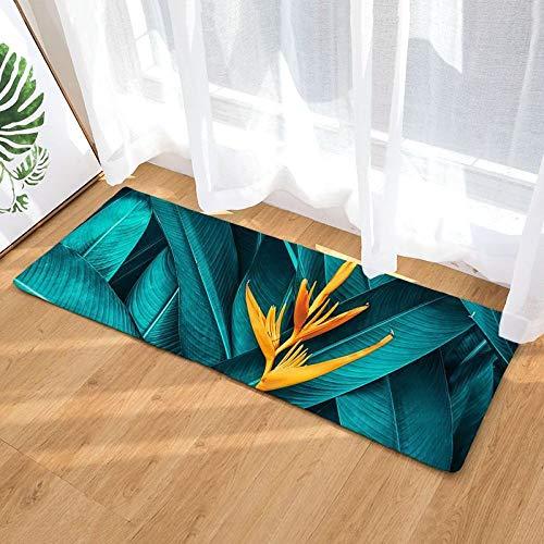 YIWAN Digitaldruck Flanell Lange bodenmatte tür thermotransfer grünes Blatt küche Bad saugfähigen Matte Teppich dc2030-7 40 * 120 cm -