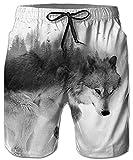 Idgreatim Uomo pantaloncini da spiaggia Lupo 3D Print Pantaloni estivi da spiaggia Pantaloncini da bagno Pantaloni Bottoms Jersey Drawstring XXL