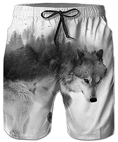 Idgreatim Männer Badehose Strand Shorts Wolf 3D Print Lustige Lounge Tragen Hosen Surfen Shorts Pyjama Bottoms Jogger Hosen M - Bottom-hose