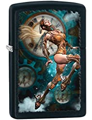 Zippo Steampunk Aviator Girl Windproof Pocket Lighter - Black Matte