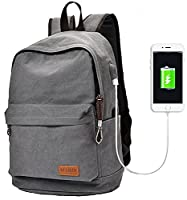 Travistar Lightweight School Backpack Travel Daypack Canvas Laptop Backpack with USB Charging Port Fit 15.6 inch Laptop-Gray