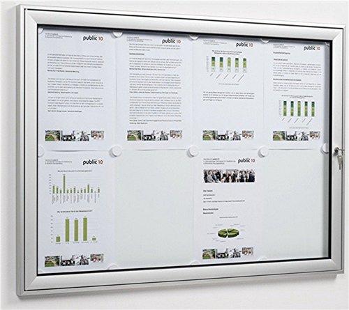 Schaukasten 8xDIN A4 B930xH680mm Ecken abgerundet ESG-Glasdrehtür