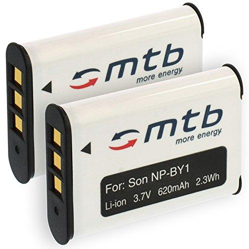 2 Akkus NP-BY1 NPBY1 für Sony HD Action Cam Mini AZ1 mit Wi-Fi / HDR-AZ1 (KIT), AZ1VR [Li-Ion / 3.6V / 620mAh]