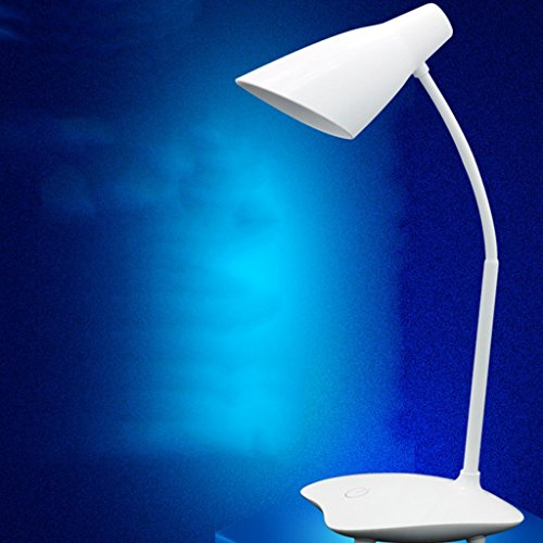 LILY Schreibtischlampe, LED Dimmbare Tischlampen Touch Eye-Care Licht (Weiß, 3-stufiger Dimmer, Slide Touch-Sensitive Bedienfeld, No Dark Area, No Ghosting)