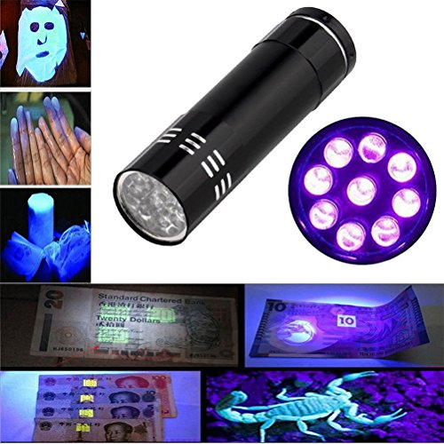 Preisvergleich Produktbild Sourpa Mini Aluminium UV Ultra Purpurrote 9 LED Taschenlampe Schwarzlicht Fackel Licht Lampe