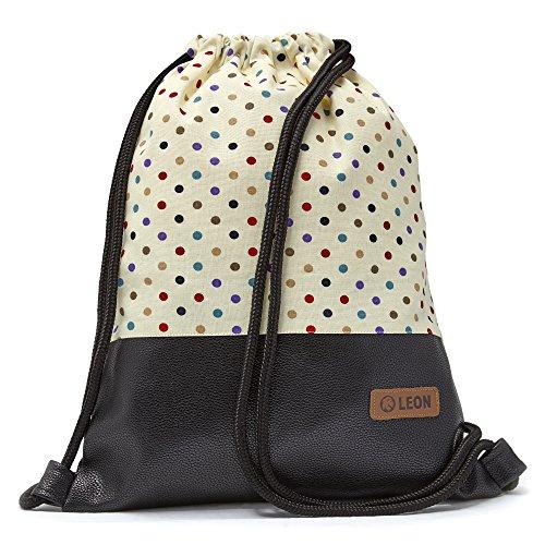 By-Bers Punkt-Design Tasche Turnbeutel LEON Rucksack Sportbeutel Damen, Herren Teenager mit Innentaschen robuste Baumwolle gymsack GymBag Gymsack Hipster (Dots_bunt_schwarzPU)