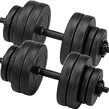 C.P. Sports Juego de pesas cortas, mancuernas de 30kg, 2barras de pesas