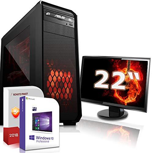 Multimedia Gaming mit Monitor PC AMD A8-9600 6x3.1GHz |ASUS Board|22 Zoll TFT|8GB DDR3|1000GB HDD|Radeon R7 Series HDMI|DVD-RW|USB 3.0|SATA3|Sound|Windows 10 Pro|GigabitLan|3 Jahre Garantie|Made in Ge