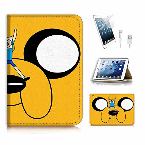 (für iPad Mini 1 2 3, Generation 1/2/3) Flip Wallet Schutzhülle & Displayschutzfolie & Ladekabel Bundle. A4157 Adventure Time Jake
