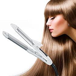 [2 in 1 Mini Hair Straightener,Curler] SQDeal All hair types-PTC:fast heat up -heater- 200- AC:110-240V For Ceramic Iron Wave Wand-(Silver)
