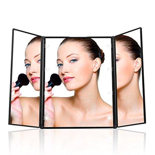 UVISTAR Kosmetikspiegel mit 8-LEDs Beleuchtung / Faltbare Beleuchtet Schminkspiegel / Reisespiegel 3 Seite / Make Up Spiegel mit Licht / Standspiegel mit Baterrie / Badspiegel Ohne vergrößerung