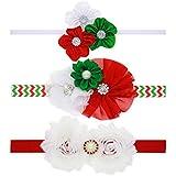 txian Bambina fascia Motivo diamante fiori di raso accessori per capelli Natale Hairband, confezione da 3