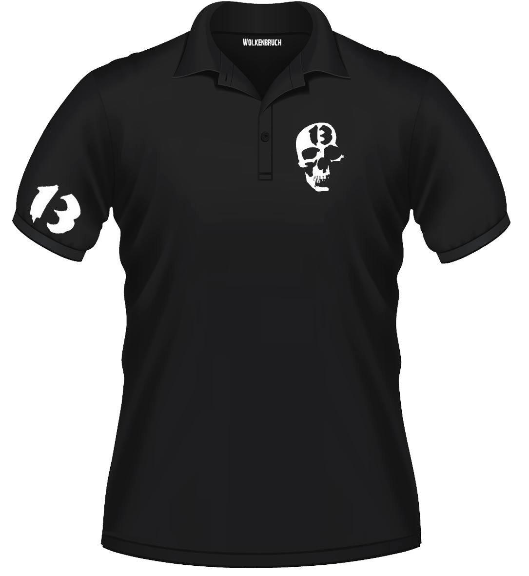 Sputnik Shirts - Polo Skull 13 con teschio, taglie da S a 5XL