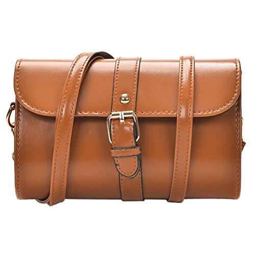 tianranrt Frauen Umhängetasche Leder Messenger Umhängetasche Tote Umhängetasche Handtasche braun 20cm(L)*13cm(H)*7cm(W) (Double Top Reißverschluss Umhängetasche)