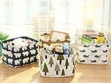 Leisial Aufbewahrungsbox für Baumwolle und Wäsche, Aufbewahrungstasche aus wasserdichtem Material, Griffe beidseitig für Kleidung von Kindern mit niedrigem Alter oder Haustier-Zubehör, style D, 20.5x16.5x13.5cm - 2