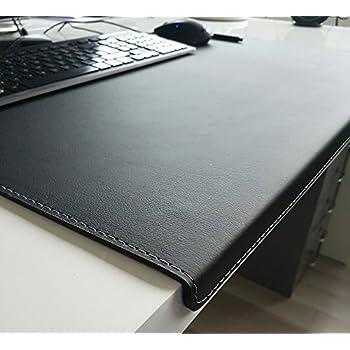 gewinkelte schreibtischunterlage mit kantenschutz softlux leder 60 x 38 schwarz silbergraue naht. Black Bedroom Furniture Sets. Home Design Ideas