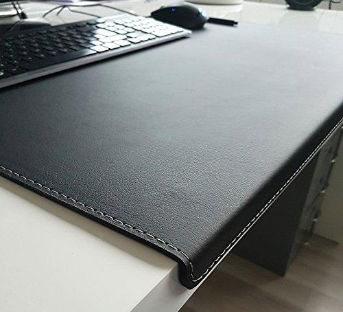 Gewinkelte Schreibtischunterlage mit Kantenschutz Softlux Leder 60 x 38 Schwarz Silbergraue Naht