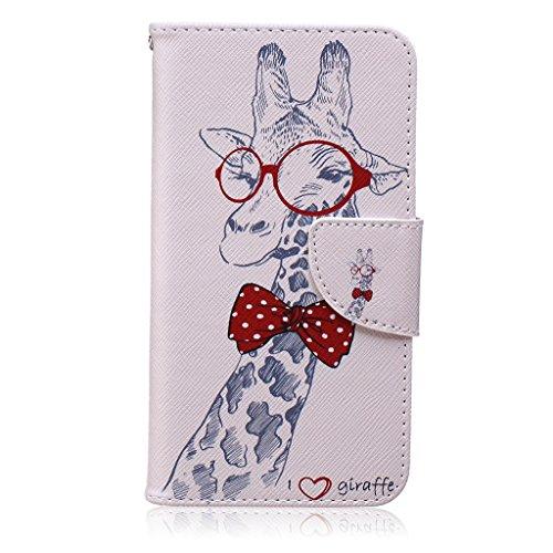Boxtii® Custodia per Samsung Galaxy A32015, custodia a libro e vetro di protezione temperato, pelle sintetica di qualità, con clip magnetica e scomparti per tessere, elegante e anti-graffio, antiurto #9 Giraffe