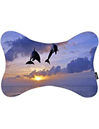 i FaMuRay Almohadas para Cuello with Adjustable Strap Clouds Dolphin Jump Ocean Dunset Theme