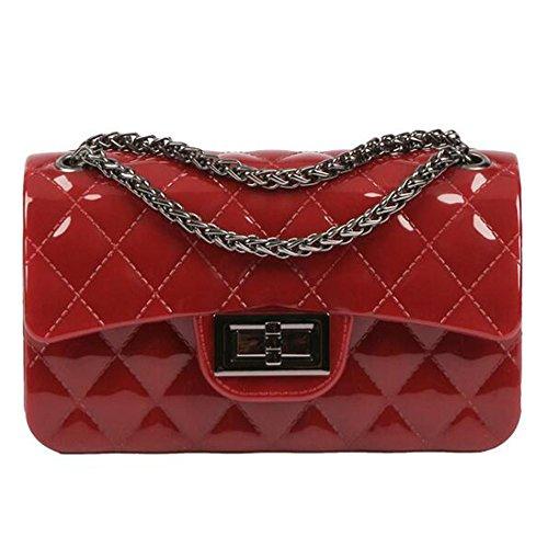 BYD Damen Mini PU Leder Gesteppt Handtasche Schultertaschen Ketten Tasche mit Steppmuster und Kettenhenkel Maedchen(Burgund) (Canvas Tote Gucci Handtasche)