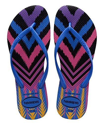 Havaianas Slim Tribal, Tongs femme Bleu (BLUE STAR 3847)