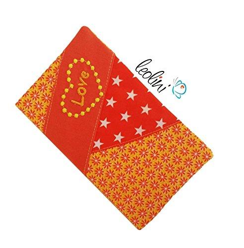 Baumwolle Mutterpasshülle orange mit Sternen Blumen Herz und Love
