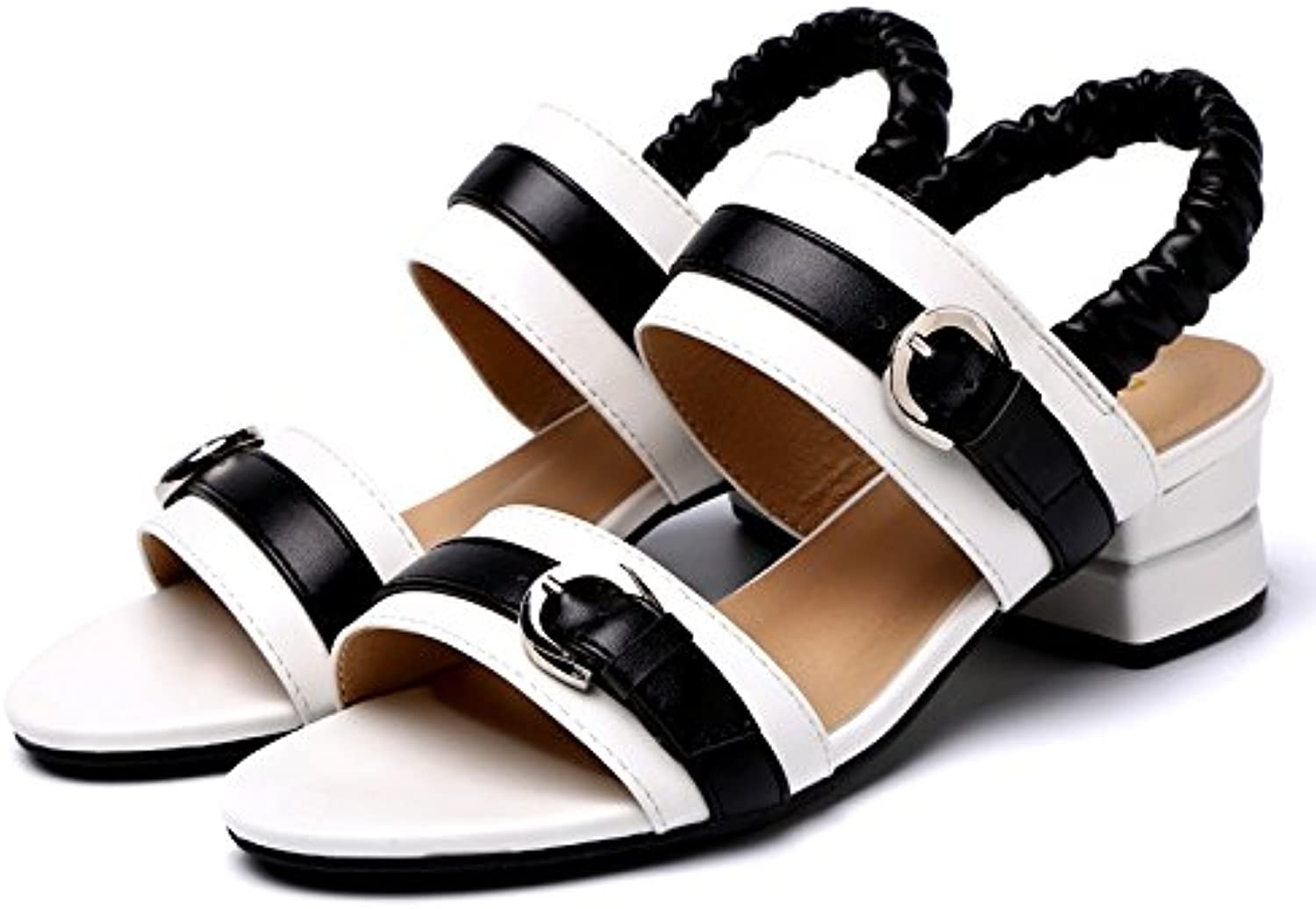 LGK&FA Comfortable with Sandals Female Toes and Women's Hollow Coloured Sandals. Thirty-Nine White
