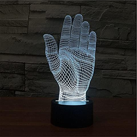 luci colorate lampada Palm 3D LED Vision acrilica stereoscopica 3D lampada di tocco di notte la luce della lampada di gradiente colorata