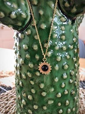Collier pendentif soleil avec pierre naturelle - Collier médaille soleil en Acier inoxydable.
