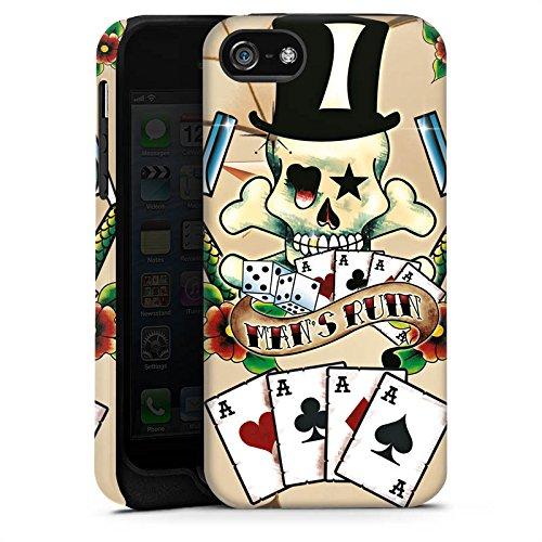 Apple iPhone X Silikon Hülle Case Schutzhülle Totenkopf Karten Blumen Tough Case matt