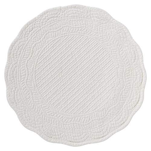 Lene bjerre tovaglietta americana centrotavola in cotone bianco trapuntato shabby chic 39cm