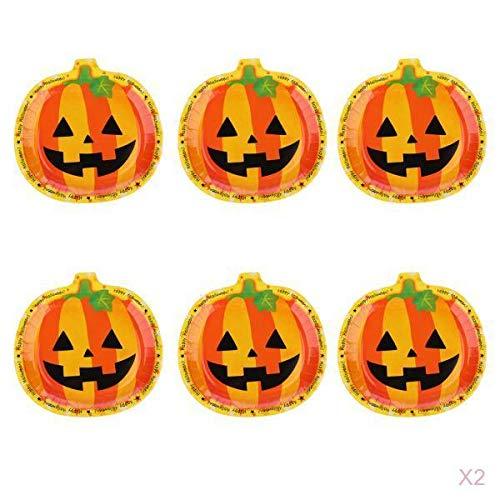 egteller Pappteller mit Kürbismuster für Familienparty Karneval und Halloween ()