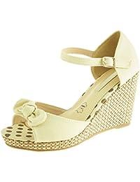 Sopily - Zapatillas de Moda Sandalias Tobillo Mujer Hebilla Cuerda Talón Plataforma 9 CM - Beige