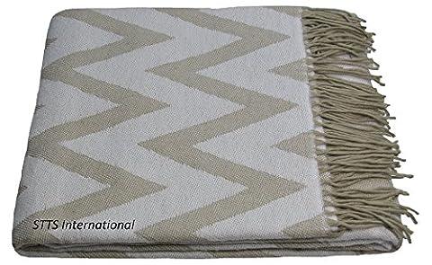 Baumwolldecke Wohndecke Kuscheldecke Tagesdecke 100% Baumwolle 140 x 180 cm sehr weiches Plaid Palma B