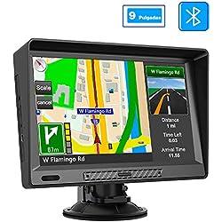 AWESAFE 9 Pulgadas Navegador GPS para Camiones y Coches con Bluetooth, GPS Coches con 41 Idiomas y con Actualizaciones de Mapas de Europa para Toda la Vida