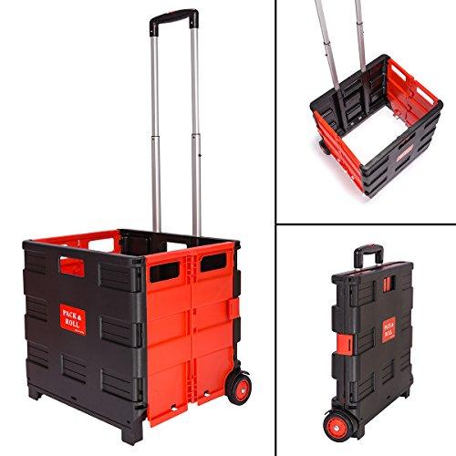 Kertou 1er Einkaufswagen Klappbar Einkaufstrolley Shopping Trolley Einkaufs Hilfe 45L 35KG(Rot)