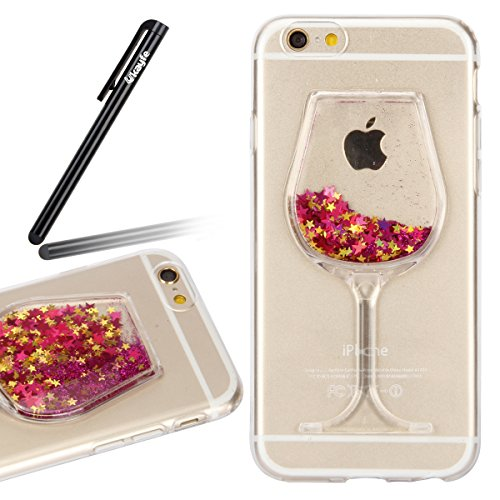 iPhone 6S Case,iPhone 6 Case,Ukayfe Bling Glitter Soft Gel Clear TPU Case for iPhone 6/6 4.7 inch, 3D Funny Wineglass Shape Liquid Quicksand Glitter Sparkle Star Transparent Protective Shell Case Back Cover for iPhone 6S 2015 & iPhone 6 2014 (Hot Pink) Test