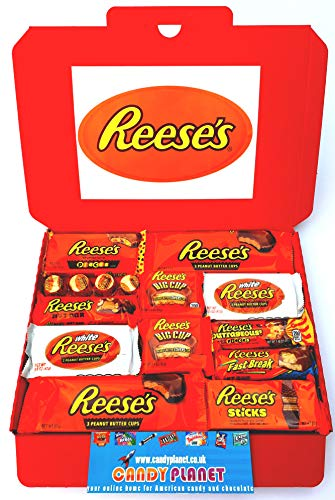 Reese's Large American Candy Hamper 32cm x 23cm | Peanut Butter Chocolate Selection | Big Cup Fast Break Outrageous White Cups Sticks Nut Bar | 15 Items | Hamper exclusive to CANDYPLANET