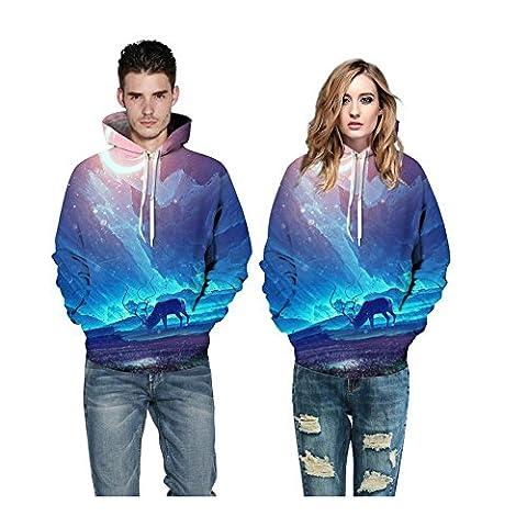 YYHSO Unisexe HD coloré 3D Printed Star Prairie Encapuchonné Sweat-shirt Poids léger Pull décontracté Couple avec Big Pockets pour Hommes et Femmes (S M L XL 2XL 3XL) , Couple Hoodies , l/xl