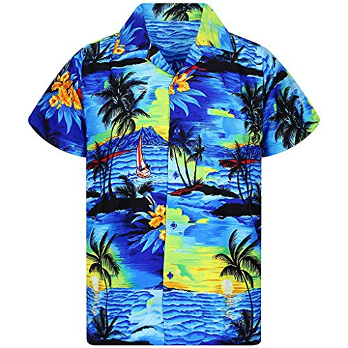 BCFUDA Bluse Mode Männer Casual Button Top Sommer Hawaii Print Kurzarm Strandhemd Atmungsaktiv Quick Dry T-Shirt Revers Knopf Kurzarm Freizeitkleidung