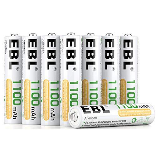 EBL Micro AAA Akku NI-MH Akkubatterien 1100mAh 8 Stück mit Aufbewahrungsbox, geringe Selbstentladung - Wiederaufladbare Batterien Gp