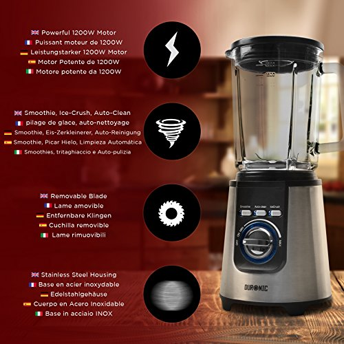 Duronic BL1200 – Stainless Steel Body Table Blender – 1.8L Glass Jug. Pre Programmed for: Smoothies, Ice Crusher and Auto Clean – Powerful 1200W Motor