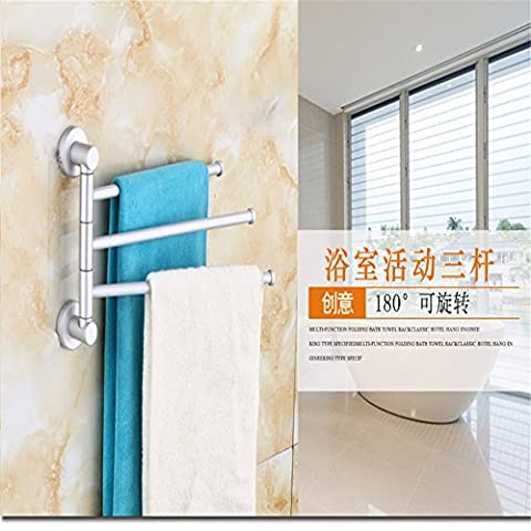 MIWANG Solid Bathroom Rotating Three Pole Towel Bar, 360 Degree Movable Three Bar Towel Rack