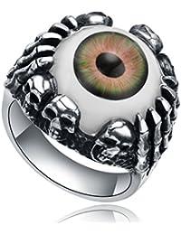 Stainless Steel Gothic Biker Skull Skeleton Claw Evil Eye Mens Ring (Green and Orange Eye)