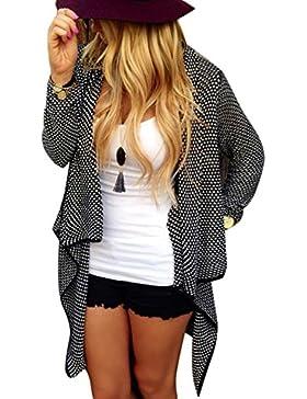 La Mujer Casual Solid Frente Abierto Asimétrico Cardigan Sweater