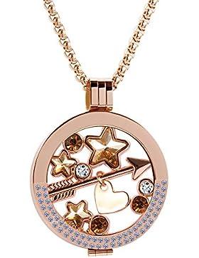 Meilanty Coin 33mm Edelstahl Roségold Stein Damen Halskette mit 80cm Ketten ZH-006-02